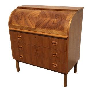 1970s Swedish Modern Egon Ostergaard Teak Roll Top Secretary Desk For Sale