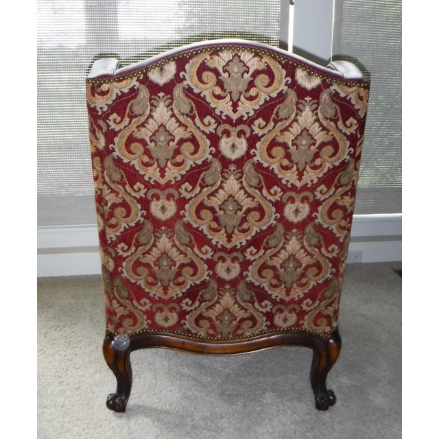 Leather and Fabric Burgundy and Gold Sherrill Windsor Chair - Image 5 of 5