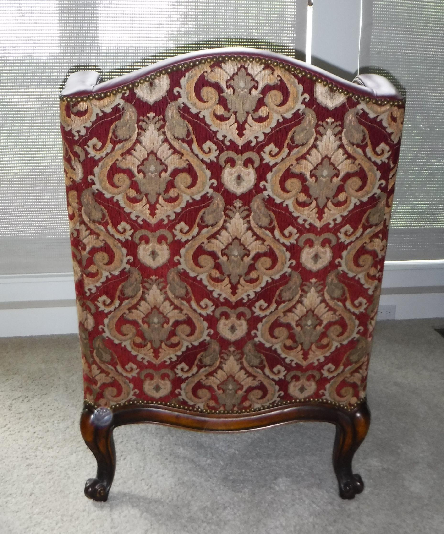 2010s Leather And Fabric Burgundy And Gold Sherrill Windsor Chair For Sale    Image 5 Of