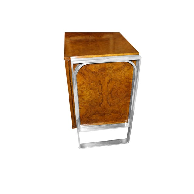 Burlwood Mid Century Burl Walnut Brushed Chrome Sideboard Buffet Pace Collection For Sale - Image 7 of 11