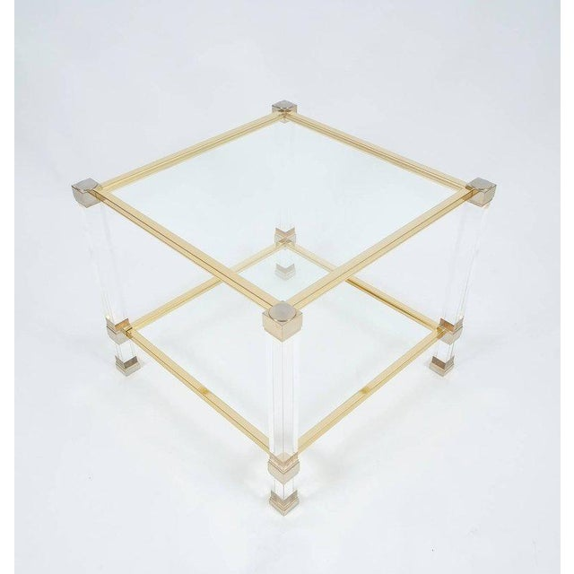 Pierre Vandel Lucite and Brass Signed Side Table, Paris, 1970 For Sale - Image 6 of 6