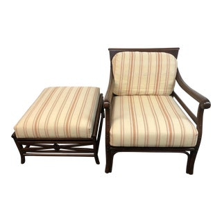 Palecek Arm Chair + Ottoman For Sale