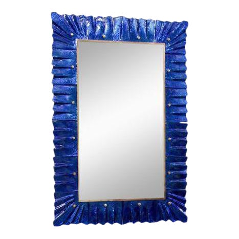 1 of 2 Huge Brass and Blue Murano Glass Mirror For Sale