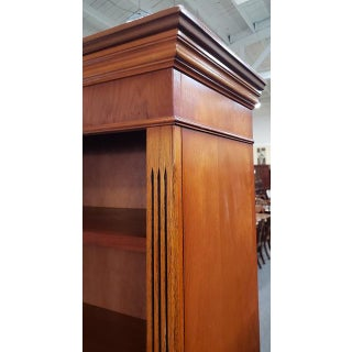Vintage English Yew Bookcase With Lower Cabinet C.1970s Preview
