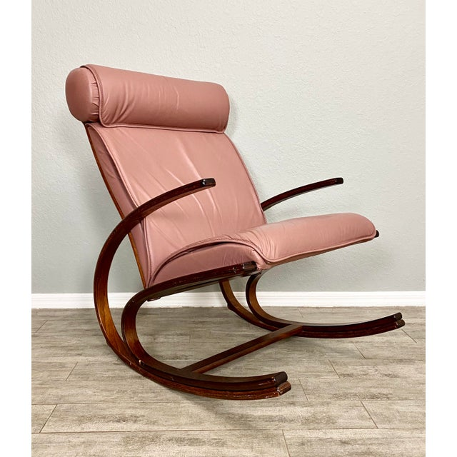 Vintage sculptural bentwood leather rocker. Solid sturdy with beautiful bentwood design. Stunning blush colored leather.