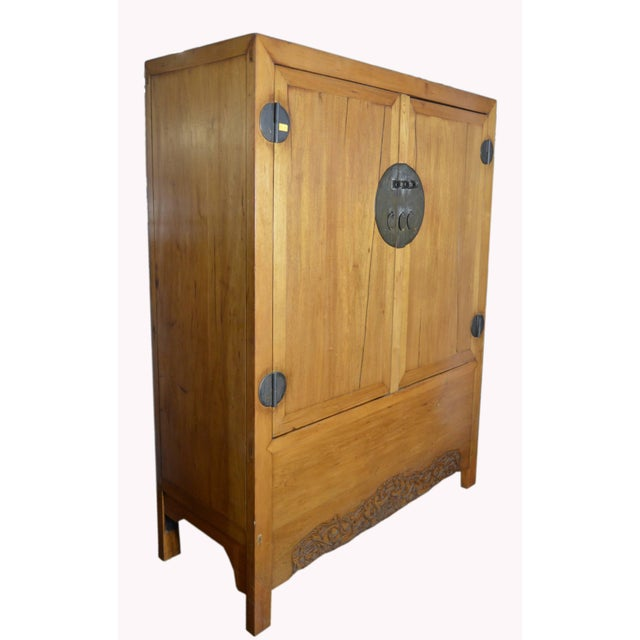 Lacquer Antique Chinese Lacquered Cabinet With Doors, Drawers and Brass Hardware For Sale - Image 7 of 9
