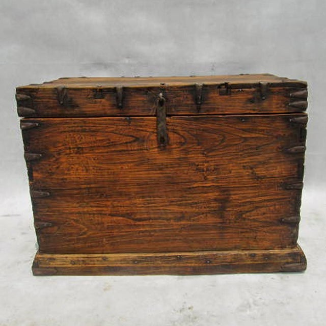 Antique mongolian wood iron trunk chairish Where can i buy reclaimed wood near me
