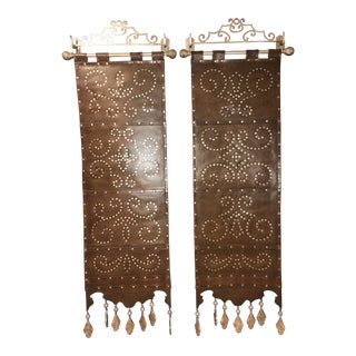 Leather & Antiqued Metal Hanging Decorative Wall Panels - a Pair For Sale