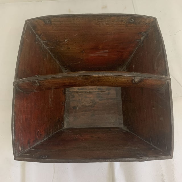 Metal Antique Chinese Rice Measure Basket With Great Patina and Faded Characters For Sale - Image 7 of 13