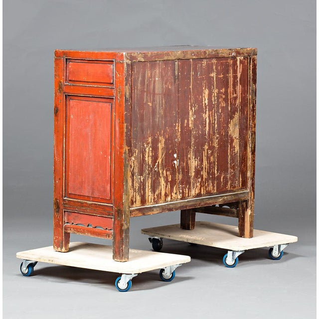 Red Lacquered Chinese Cabinet From Ningbo For Sale - Image 4 of 5