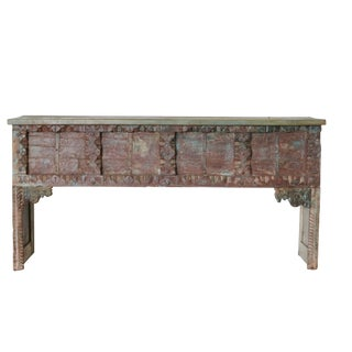 Vintage Reclaimed Wood Carved Console For Sale