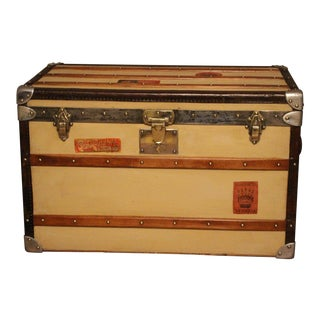 1920s Beige Moynat Steamer Trunk For Sale