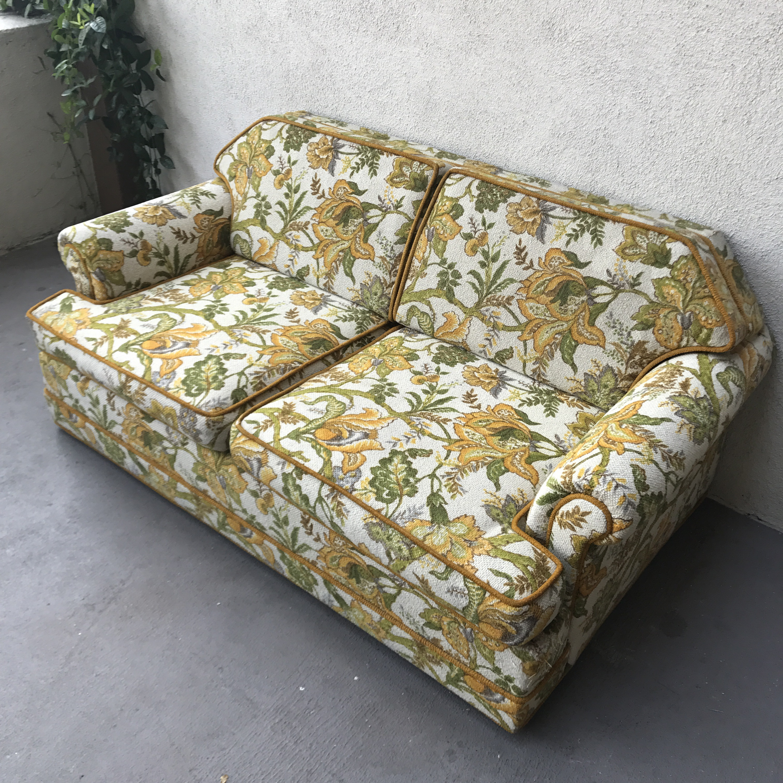 Charming Vintage Mid Century Modern Upholstered Floral Sofa   Image 3 Of 8