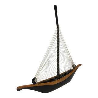 Vintage Handcrafted Wooden Sail Boat Model For Sale