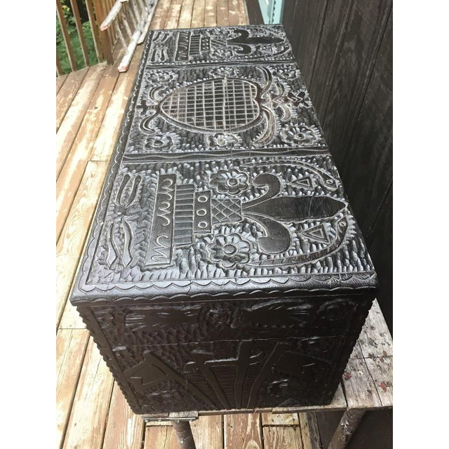 Masonic Iconography Hand Carved Chest For Sale - Image 4 of 10