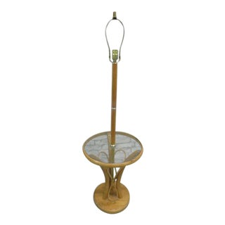 Rattan McGuire Style Floor Lamp With Glass Table