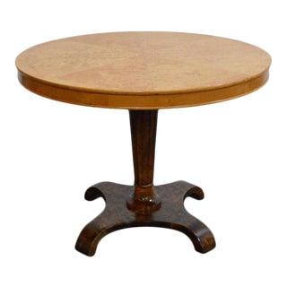 Swedish Art Deco Burl Birch and Elm Pedestal Table For Sale