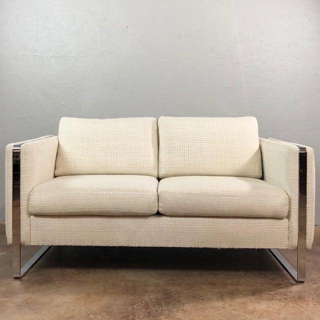 Mid Century Modern Milo Baughman Chrome Framed Love Seat For Sale - Image 11 of 11