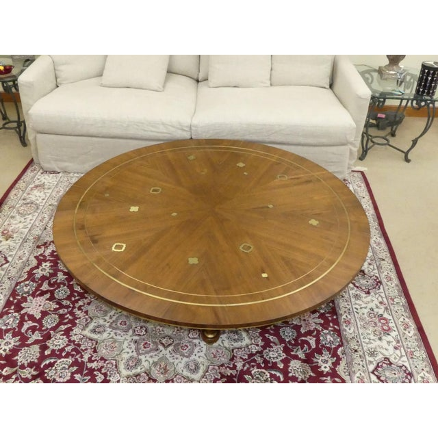 1960s Mid-Century Modern Bert England for Johnson Furniture Brass Inlaid Round Coffee Table For Sale In Miami - Image 6 of 10