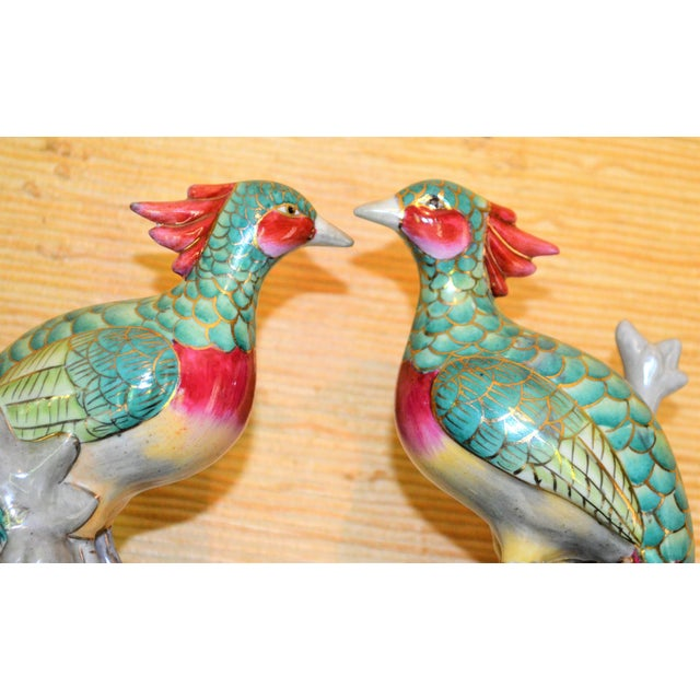 Chinese Export Porcelain Pheonix Bird Figurines - a Pair For Sale - Image 4 of 13