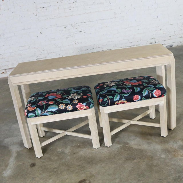 Handsome vintage transitional modern console table or sofa table with a pair of matching benches by Drexel Heritage from...