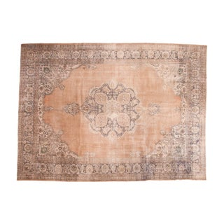"Vintage Distressed Oushak Carpet - 10'1"" x 13'7"" For Sale"