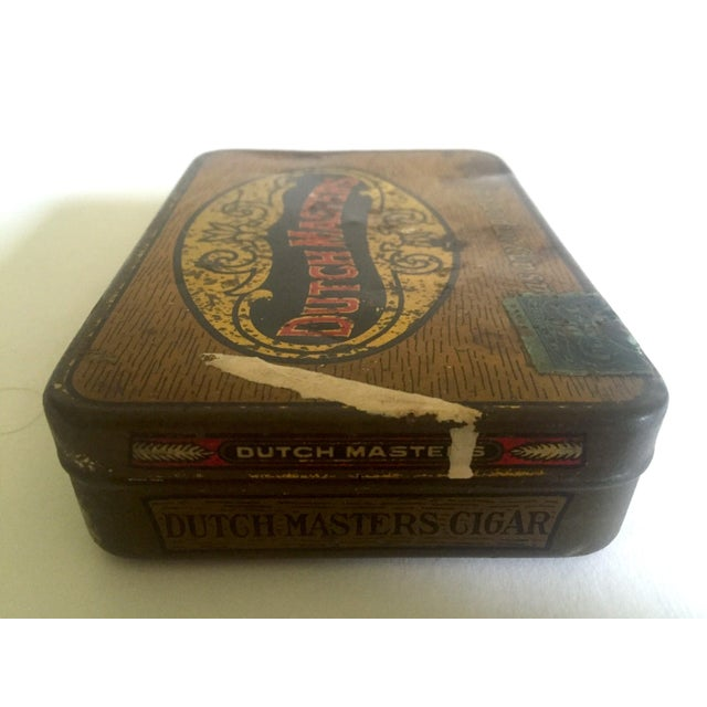 """Vintage Early 1900's """"Dutch Masters"""" Lithograph Cigar Tin Box For Sale In New York - Image 6 of 11"""
