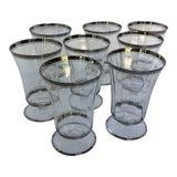 Image of Vintage Tiffin Style Platinum Rim Cocktail Glasses - Set of 8 For Sale