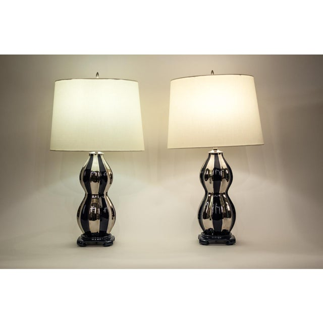 1930s Mid-Century Modern Porcelain Table Lamps - a Pair For Sale - Image 5 of 12