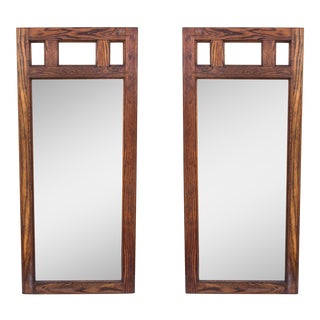 Mid Century Oak Mirrors - a Pair For Sale