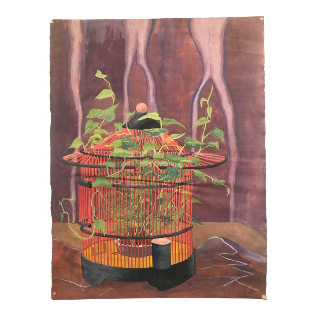 Mystical Birdcage Painting on Paper 1960s For Sale