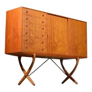 1960s Mid-Century Modern Hans J. Wegner Saber Legged Teak and Oak Sideboard For Sale