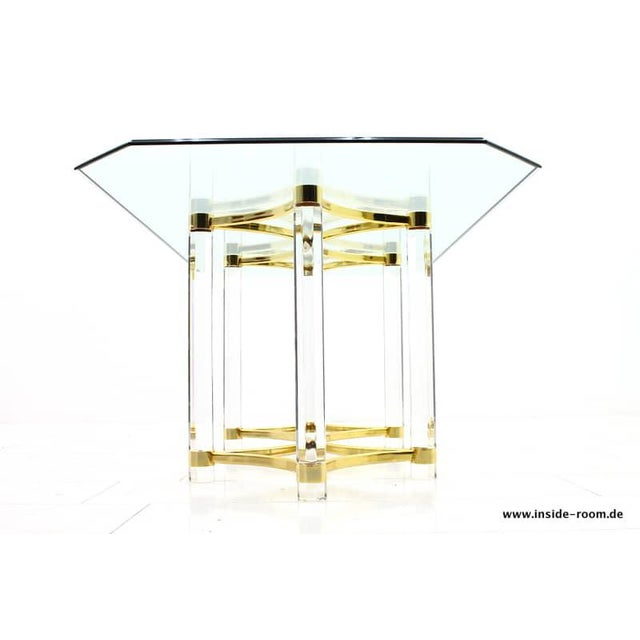 Gold Lucite, Glass and Brass Dining Table, Romeo Paris, 1980s For Sale - Image 8 of 12