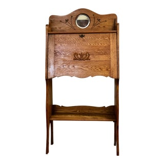 1900's Antique Tigeer Oak Secretary With Small Round Mirror For Sale