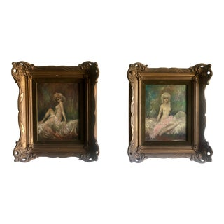 1950s Vintage Hollywood Regency Style Nude Female Figure Paintings - a Pair For Sale