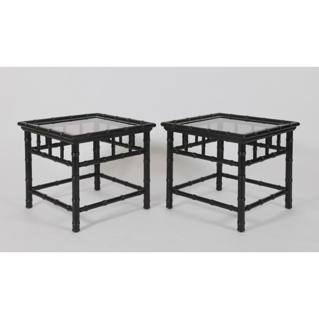 20th Century Boho Chic Black Painted Faux Bamboo Side Tables - a Pair For Sale - Image 4 of 4
