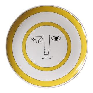 """Taste Setter Sun Face Dinner Plate Yellow White Mid Century Modern 10.25"""""""