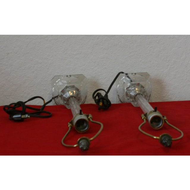 Vintage Cut Glass Candlestick Boudoir Lamps - A Pair - Image 9 of 11