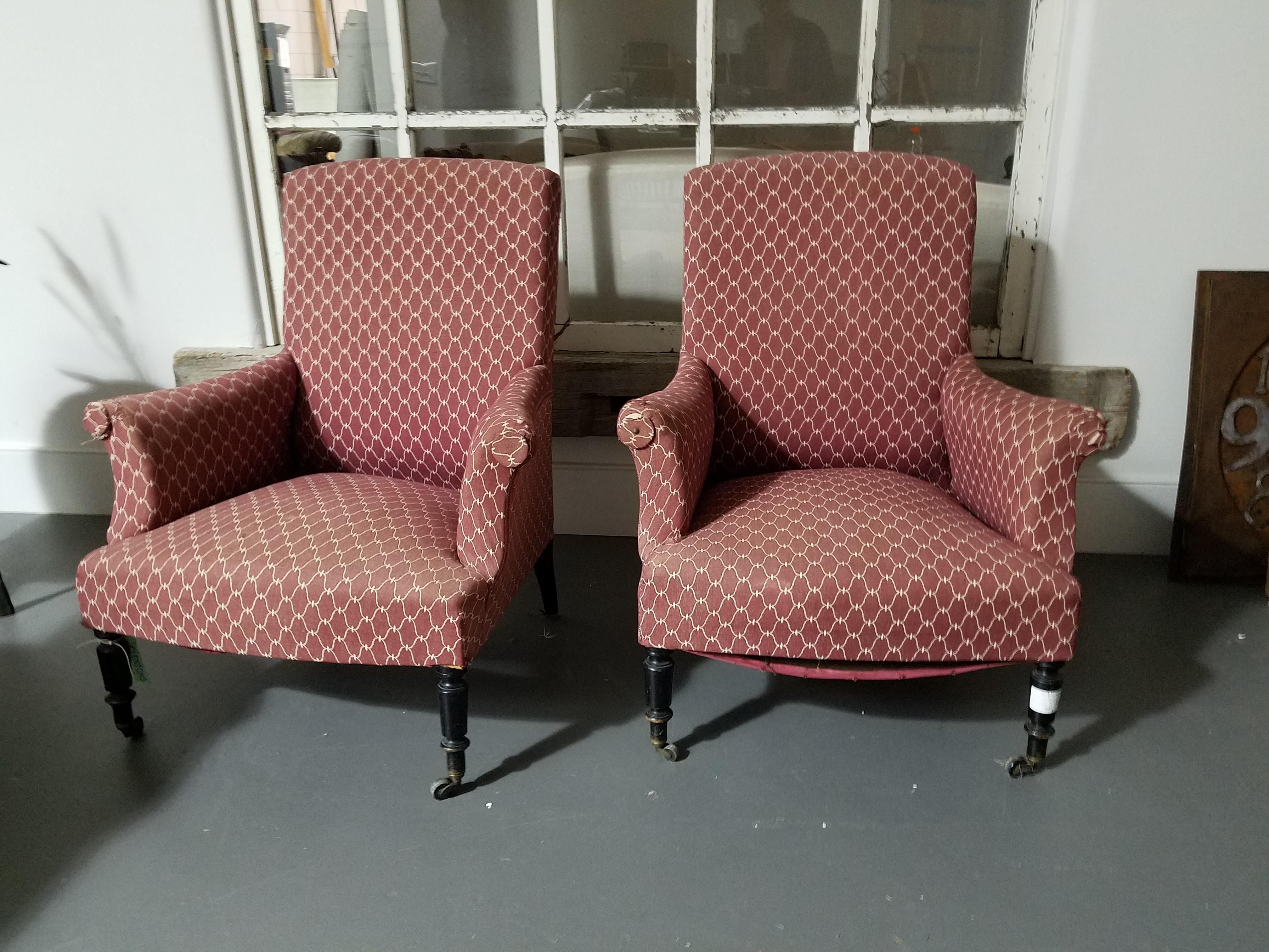 Captivating Antique Patterned Club Chairs   A Pair   Image 5 Of 5
