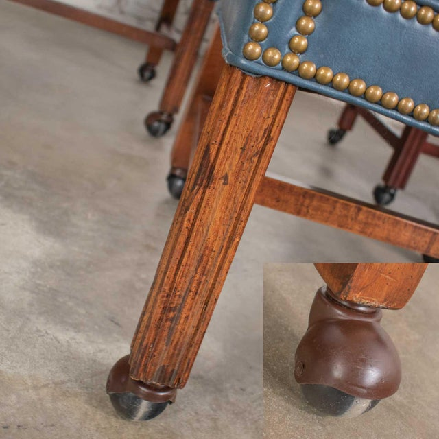 Blue Vinyl Faux Leather Chinese Chippendale Tub Style Rolling Game Chairs Set of Four For Sale - Image 10 of 13