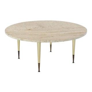 Italian Modern Round Travertine Top Coffee Table on Tapered Metal Legs Base