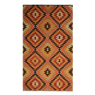 Vintage Mid-Century Geometric Green Orange Wool Kilim Rug-5′4″ × 10′5″ For Sale