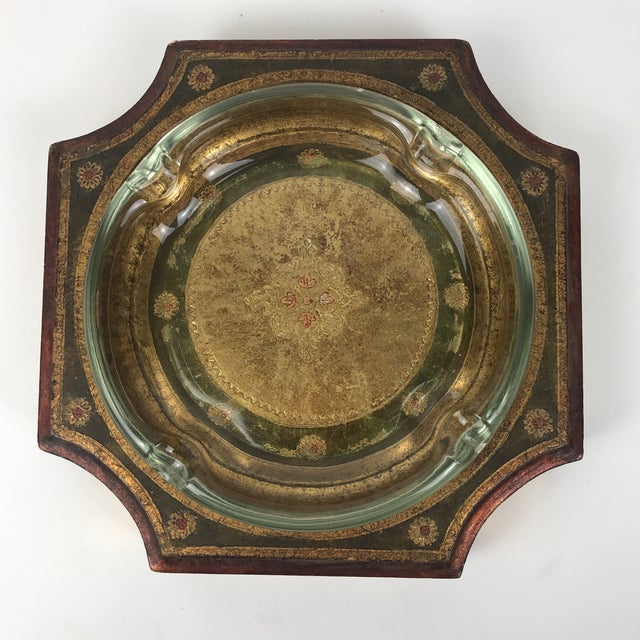 1950s Italian Florentine Wooden and Glass Ashtray For Sale - Image 4 of 4