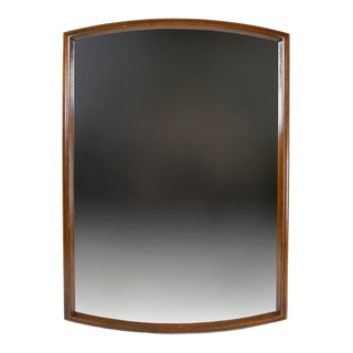 Vintage Mid Century Modern Wood Framed Wall Mirror With Rounded Sides For Sale