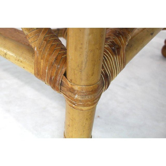 Brown Heavy Gage Thick Bamboo and Leather X-Base Sofa Frame For Sale - Image 8 of 12