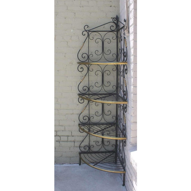 Brass Amazing French Iron and Brass Bakers Corner Shelf For Sale - Image 7 of 7