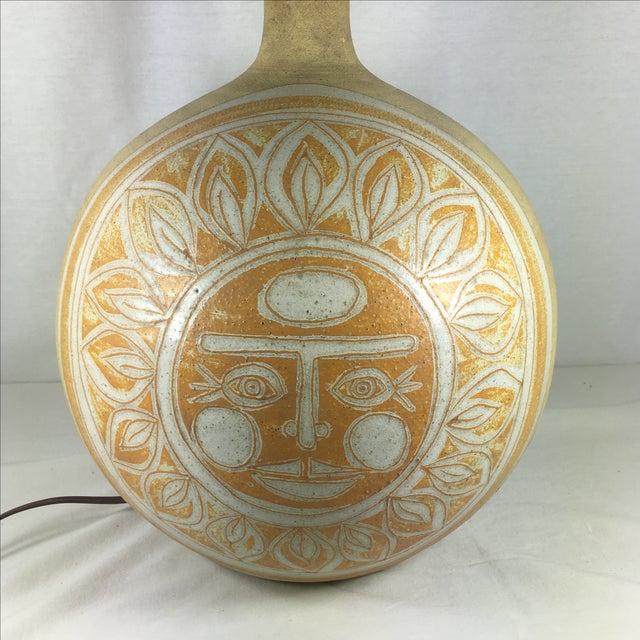 Vintage Incised Ceramic Art Pottery Lamp - Image 5 of 9