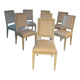 Custom Hand Painted Upholstered Dining Chairs - Set of 8 For Sale