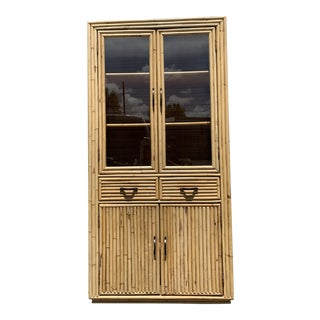 Vintage Boho Chic Organic Rattan and Glass Hutch For Sale