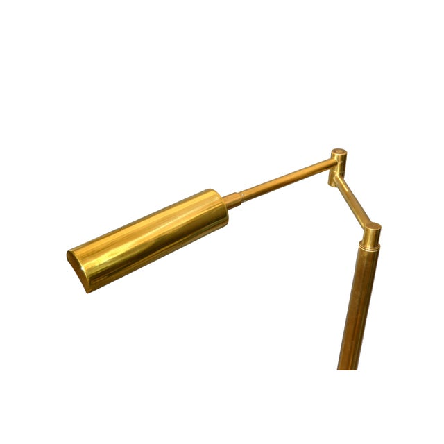 Italian Brass Swing Arm Floor or Reading Lamp For Sale In Miami - Image 6 of 13